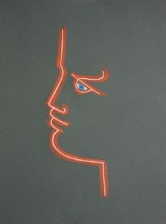 Lithographie - Jean Cocteau - Profile (Green)
