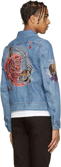 Diesel - Blue Embroidered Denim Jacket Denim Jacket Men, Painted Denim  Jacket, Embroidered Denim cf4650b8538