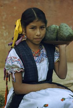 Girl in folk dancing costume holds tray of tree-grown cherimoyas. Tingambato, Mexico.
