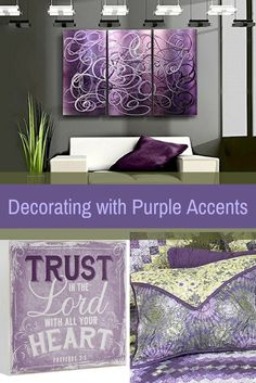 Consider decorating with purple accents if you love the look of purple home decor. It does not matter if you like violet, lavender, lilac, amethyst or more of a muave purple. Rest assured you will find your perfectly purple paradise.   I love the look of purple modern wall art, purple accent pillows and trendy purple decorative accents to spread all over my home.  This works well with my ultra modern home decor scheme however I did have to mix in vintage, rustic and shabby chic