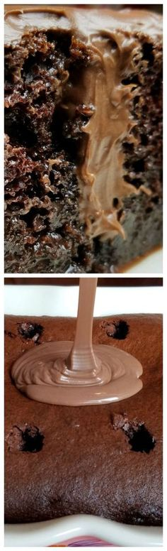 Better than Sex Chocolate Poke Cake ~ One of the BEST cakes you will ever have!*****i wonder if I can make this gluten free. Köstliche Desserts, Delicious Desserts, Dessert Recipes, Healthy Desserts, Icing Recipes, Healthy Recipes, Coconut Dessert, Chocolate Cake Mixes, Chocolate Icing