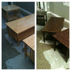 Repaint old coffee tables and resurface the top with mosaic tile! :)