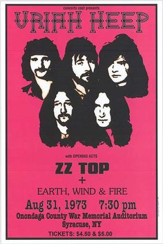 Uriah Heep, ZZ Top, Earth, Wind & Fire - Onondaga County War Memorial Auditorium, Syracuse, NY Aug 31,1973