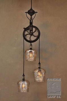 The Warehouser 3 Light Pulley Wheel Pendant Chandelier – Rustic Farmhouse Lighting - All For Decoration Farmhouse Lighting, Rustic Lighting, Lamp, Pendant Chandelier, Crown Royal Bottle, Home Lighting, Lights, Pulley Light, Diy Lighting