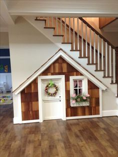 New playhouse door diy basement stairs ideas Under Stairs Playhouse, Room Under Stairs, Basement Stairs, Playhouse Ideas, Kid Playhouse, Playhouse Decor, House Stairs, Under Stairs Dog House, Closet Playhouse