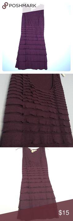 Max studio maroon ruffle sleeveless dress Dark purple/maroon. Sleeveless. Ruffle design. Comes a bit above the knee. Has a bit of a stretch to it. Max Studio Dresses