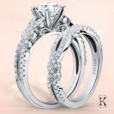 Kirk Kara engagement ring from the Pirouetta collection | platinum ring | white gold ring | bow ring | detailed ring | round diamond ring | twist ring | romantic and vintage engagement ring | beautiful engagement ring | kirkkara.com | Design No. K133R and K133-B