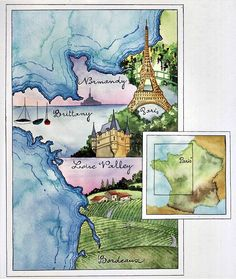 Watercolor Journaling Idea+Le+Road+Trip+map+France.jVivian. Swift