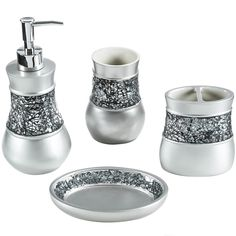 Bath accessories white damask and damasks on pinterest for Silver crackle glass bathroom accessories