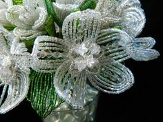 White and Crystal French Beaded Flower
