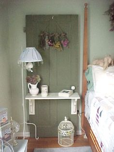 Vintage door made into bed side table.