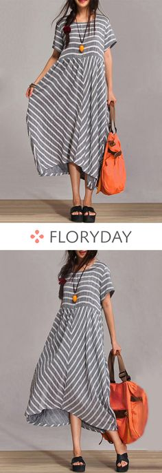 Cotton Stripe Short Sleeve Maxi A-line Dress, cotton dress, A-line dress, short … – Underwear Models Short Outfits, Cool Outfits, Short Dresses, Summer Dresses, Look Fashion, Fashion Outfits, Womens Fashion, Fashion Design, Linen Dresses
