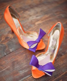 custom dyed orange and purple bridal shoes & an orange and purple wedding inspiration board http://burnettsboards.com/2012/09/plum-and-pumpkin/