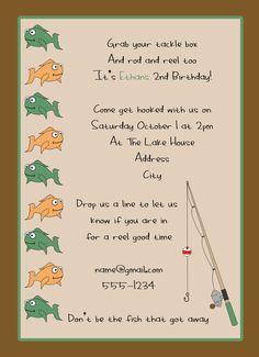 Printable Fishing Party Invitation Custom Fishing Invitation