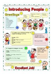 English Worksheets: Introducing people / Greetings