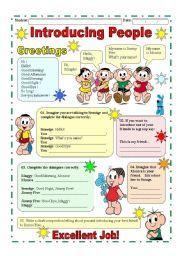 English worksheet: Introducing people / Greetings