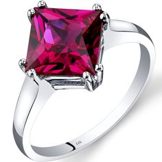 Peora.com - 14K White Gold Created Ruby Solitaire Ring 3.25 Carat Princess Cut R62192 $169.99 (