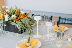 modern yellow geometric reception | Newport Beach Civic Center wedding | Modern Geometric Wedding as featured on Green Wedding Shoes