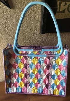 EXCEPTIONAL BOHO Retro MOD Festival Plastic Canvas NEEDLEPOINT Large PURSE NICE! #Handmade #TotesShoppers #SummerBeach