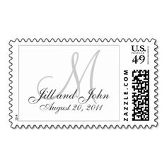 Custom Monogram Postage for Weddings. Customize with your personal information and wedding colors. #monogram #names #date #wedding #postage #postal #stamps #stamp