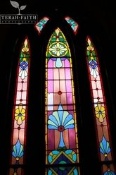 One of the beutiful stained glass windows at the Olde North Chapel