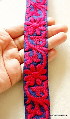 Blue Silk Lace Trim With Fuchsia Pink Thread Floral Embroidery 31mm Wide…