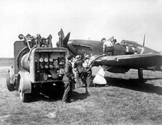 Ground crew refuel a Hurricane Mk I of No 32 Squadron RAF from a refuelling truck whilst the pilot waits in the cockpit at RAF Biggin Hill in August Ww2 Aircraft, Fighter Aircraft, Navy Aircraft, The Spitfires, Hawker Hurricane, Supermarine Spitfire, Ww2 Planes, Battle Of Britain, Fighter Pilot