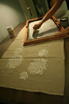 Eighteenth Century Agrarian Business: diy: screen-printing, and re-covering an upholstered chest Textiles, Textile Prints, Textile Design, Fabric Design, Diy Screen Printing, How To Make Curtains, Diy Curtains, Shower Curtains, Tapestry Fabric