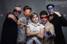 "Rob Paulsen (Donatello), Greg Cipes (Michaelangelo), Mae Whitman (April), Sean Astin (Raphael), and Jason Biggs (Leonardo) getting in character for the upcoming ""Teenage Mutant Ninja Turtles"" animated series."