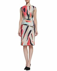 Lela Rose Brushstroke-Print Cotton Dress with Folded Skirt - Neiman Marcus