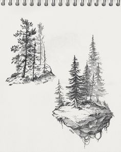 Tree Tattoo design & Model trend for Easy Pencil Drawings, Landscape Sketch, Landscape Drawings, Tree Illustration, Ink Illustrations, Pine Tattoo, Tattoo Tree, Kiefer Tattoo, Nature Sketch