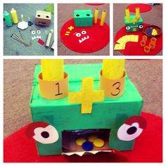 'Marvin the addition monster' Pick a card (visual reps on cards) and put corresponding number ring on Marvin's horn. Put correct amount of blue counters down one horn, and yellow down the other. Maths Eyfs, Preschool Math, Kindergarten Math, Teaching Math, Numeracy, Year 1 Maths, Early Years Maths, Early Math, Math Resources