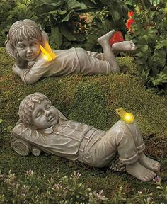Statues Kids with Solar Fireflies Boy or Girl  Light Up Fireflies Garden Statue