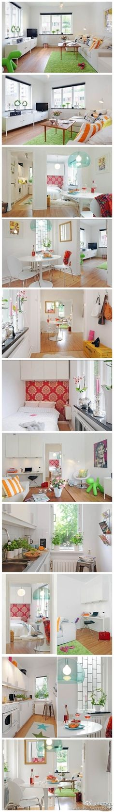white + pops of color + patterns + minimal swedish design // cheap chic & fun // rental solutions