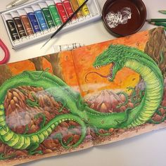 Finally my basilisk and her babies are finished. I'm superexcited with the result . Thank you all for for your encouraging words along the way. I used Plolychromos for the coloring, Winsor & Newton watercolor for the background and acryl paint for the mist Inspired by fabolous @inkiwell  #kerbyrosanes #mythomorphia #polychromos #winsorandnewton #bayan_boyan #målarbokförvuxna #coloringmasterpiece #coloringbook #coloring_secrets #wonderfulcoloring