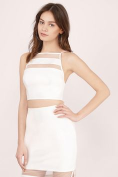 Clear Sights Mesh Halter Tank at Tobi.com  | Find this and many more must have little white dresses at www.tobi.com | #SHOPTobi | #LittleWhiteDress |