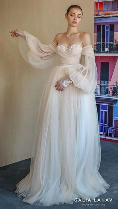 Galia Lahav Fall 2019 Bridal Wedding Dress // off shoulder sheer balloon sleeves sweetheart neckline lace bodice pleated ball gown wedding dress sweep train blush romantic (bellina) mv -- Here's The Gorgeous New Collection That Everyone Will Be Talking Ab Pretty Dresses, Beautiful Dresses, Elegant Dresses, Romantic Dresses, Awesome Dresses, Bridal Wedding Dresses, Ball Gown Wedding, Backless Wedding, Sleeve Wedding Dresses