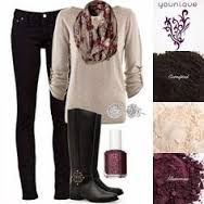To get this outfit start with a black skinny jean, a tan long sleeve shirt, a dark purple patterned scarf, and high black boots.   Use Mineral pigments by younique  Daring, Curious & Glamours