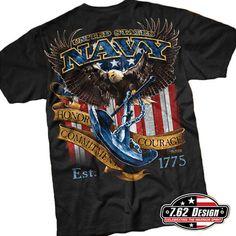 b7a4adf4c Navy Fighting Eagle T-Shirt- 7.62 Design Black Graphic Military T-Shirt Navy