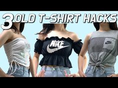 3 OLD T-SHIRT HACKS / Refashion EASY DIY SUMMER CROP TOP / Upcycling / Transform your T-shirts - YouTube