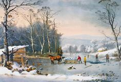 Currier & Ives Winter Scene Painting