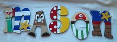 Hand-Painted Wooden Letters Super Mario Theme 9 by ArtByGillian