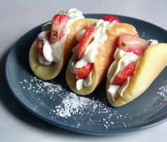 Strawberries and Condensed Milk Whipped Cream Pancake Tacos.