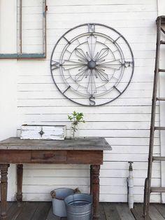 Galvanized Metal Wall Compass Nautical Wall Art Nautical