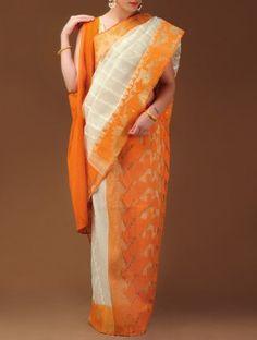 Orange Dhakai Jamdani Cotton Saree