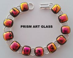 Exotic Pink/Orange/Black Dichroic Glass Link by prismartglass, Dichroic Glass, Glass Art, Exotic, Orange, Unique Jewelry, Handmade Gifts, Link, Etsy, Vintage