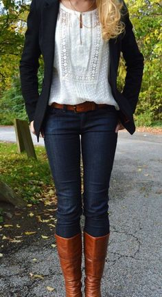 #fall #fashion / denim + boots