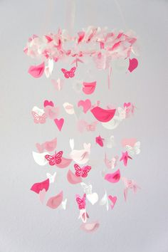 Birds Hearts & Butterflies Mobile- Sweet Baby Girl Pink Nursery Decor Mobile