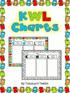 {Freebie}  #KWL Charts Student & Teacher Versions (Blacklines Included)