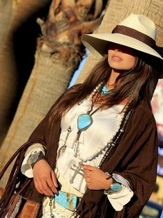 ❤ Cowgirls Fashions Western Style Turquoise, leather and cool Panama hat.